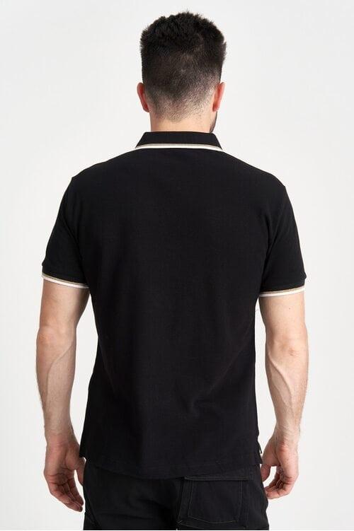 Черная футболка Поло с принтом колонн 1617