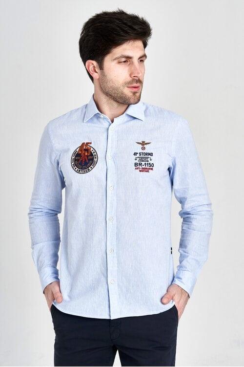 Голубая мужская рубашка Aeronautica Militare 3137