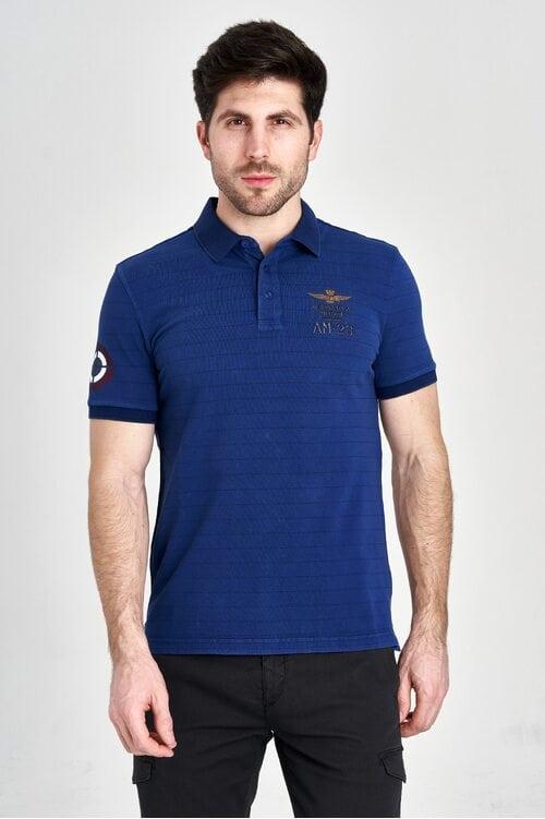 Синяя футболка-поло с полосками Aeronautica Militare 3159