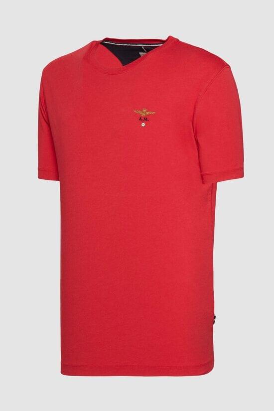 Красная футболка с округлой горловиной Aeronautica Militare 3161