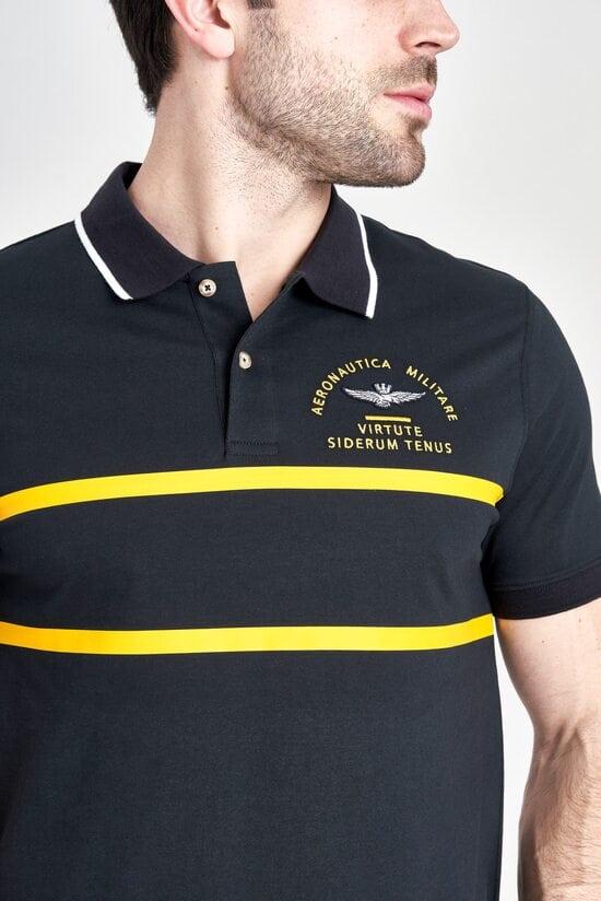 Футболка-поло с желтым декором Aeronautica Militare 3176