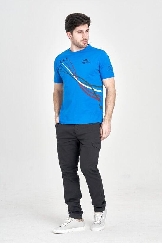 Яркая синяя футболка с принтом Aeronautica Militare 3185