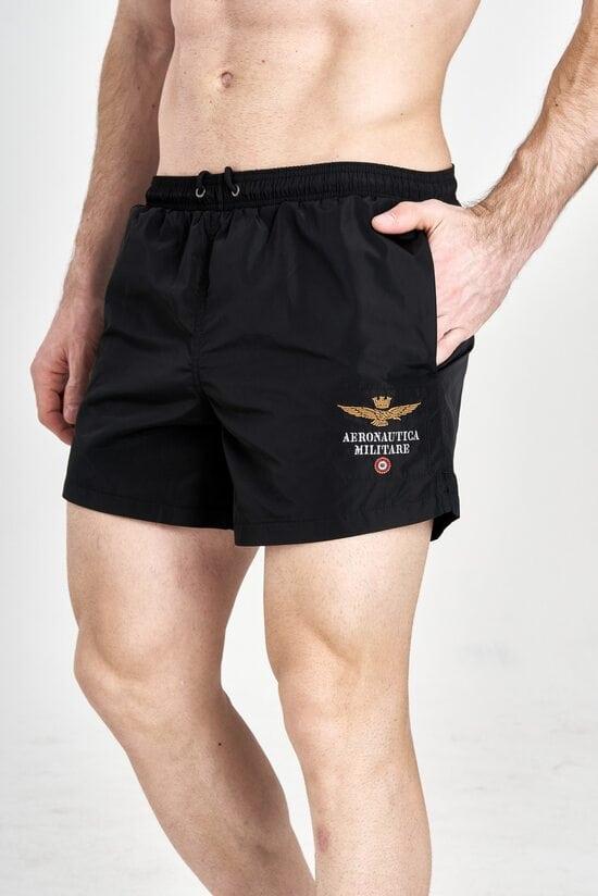 Черные пляжные шорты Aeronautica Militare 3206