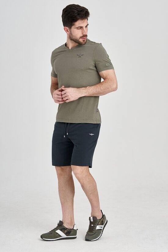 Хлопковые шорты с контрастным поясом Aeronautica Militare 3223