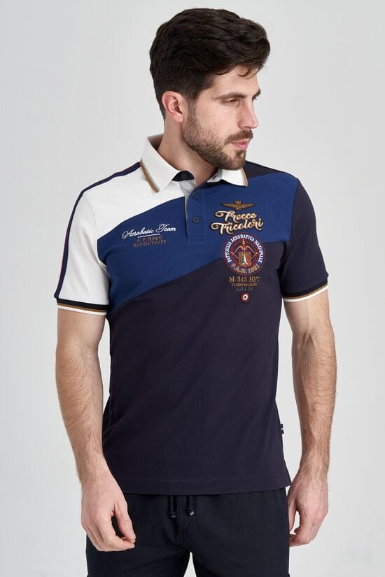 Футболка-поло с полосами на плече Aeronautica Militare 3227