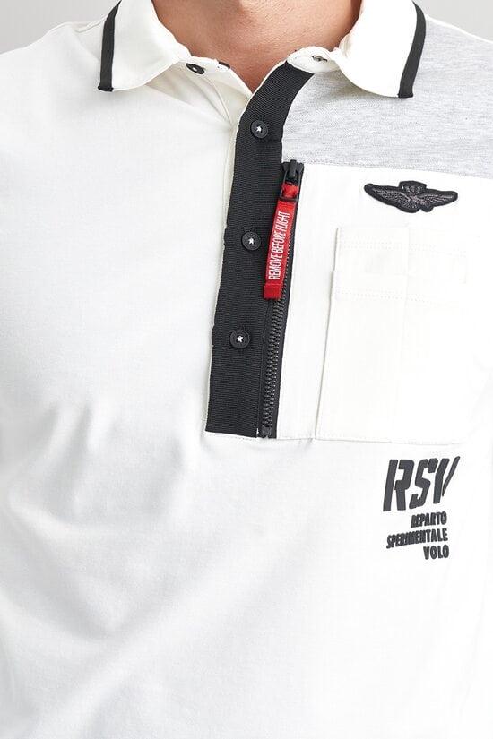 Белая кофта с серой вставкой Aeronautica Militare 3523