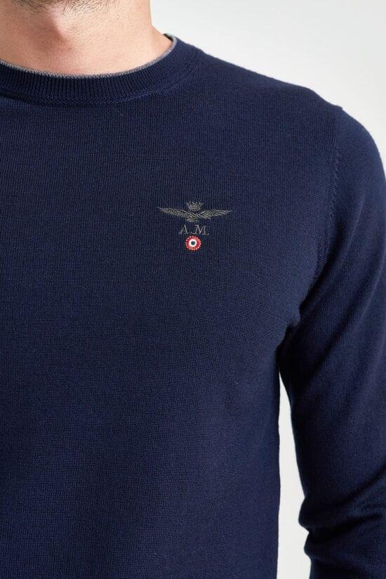 Темно-синий джемпер с заплатками Aeronautica Militare 3543