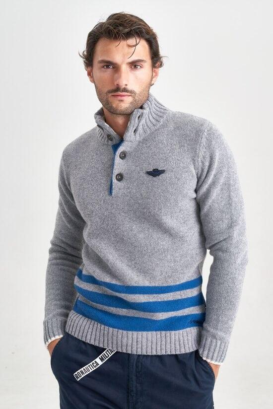Шерстяной мужской свитер с полосками Aeronautica Militare 3555