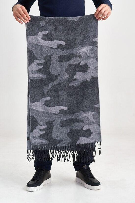 Серый шарф с камуфляжным принтом Aeronautica Militare 3585