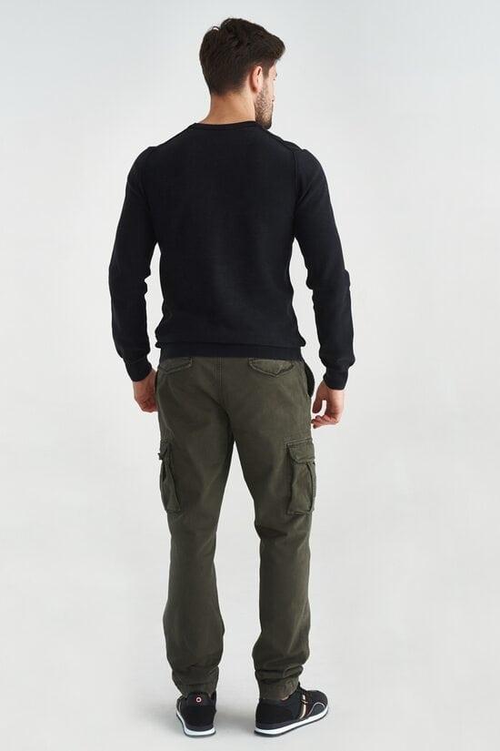 Черный мужской свитер из хлопка Aeronautica Militare 3595