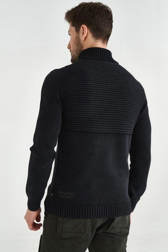 Черный свитер с высоким воротником Aeronautica Militare 3599