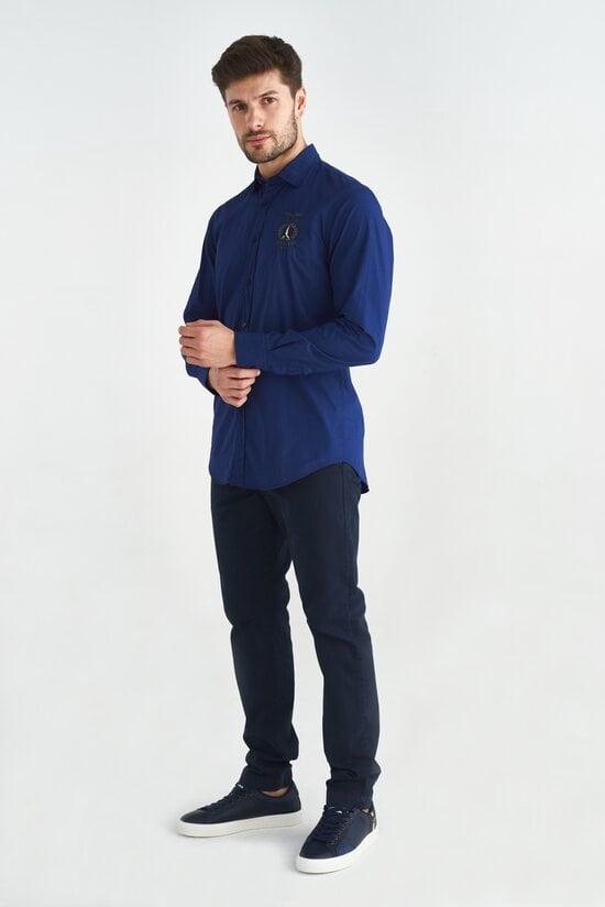 Темно-синяя рубашка с вышивкой на груди Aeronautica Militare 3602