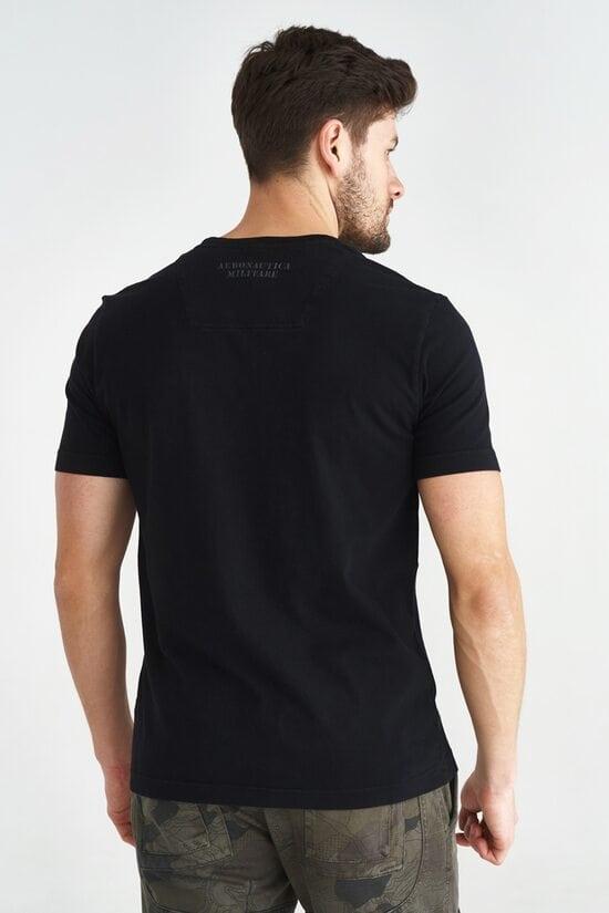 Черная футболка из хлопка с эмблемой на груди Aeronautica Militare 3609