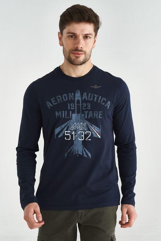 Лонгслив темно-синего цвета с принтом Aeronautica Militare 3611