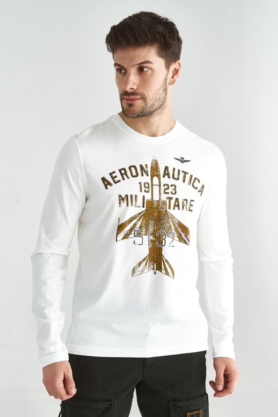 Белый мужской лонгслив с самолетом Aeronautica Militare 3613