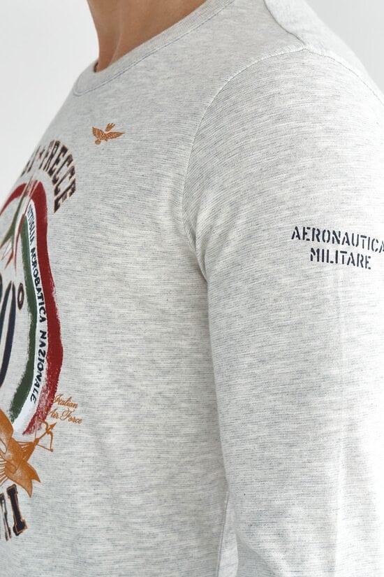 Светло-серый лонгслив с большим принтом Aeronautica Militare 3620