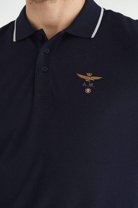 Мужское поло с контрастными полосками Aeronautica Militare 3626
