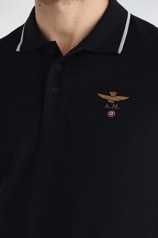 Черное поло с длинными рукавами Aeronautica Militare 3627