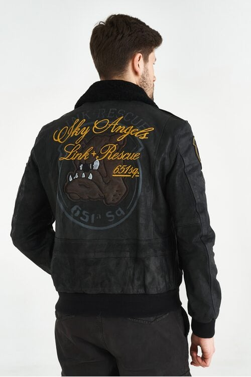 Черная кожаная куртка пилот Aeronautica Militare 3645