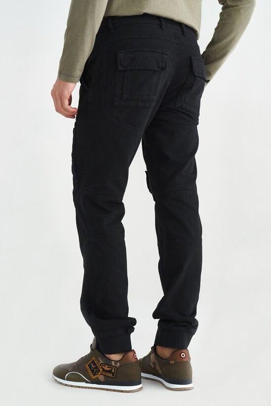Мужские черные брюки карго Aeronautica Militare 3655