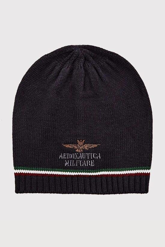 Вязаная шапка с трехцветной полоской Aeronautica Militare 3685