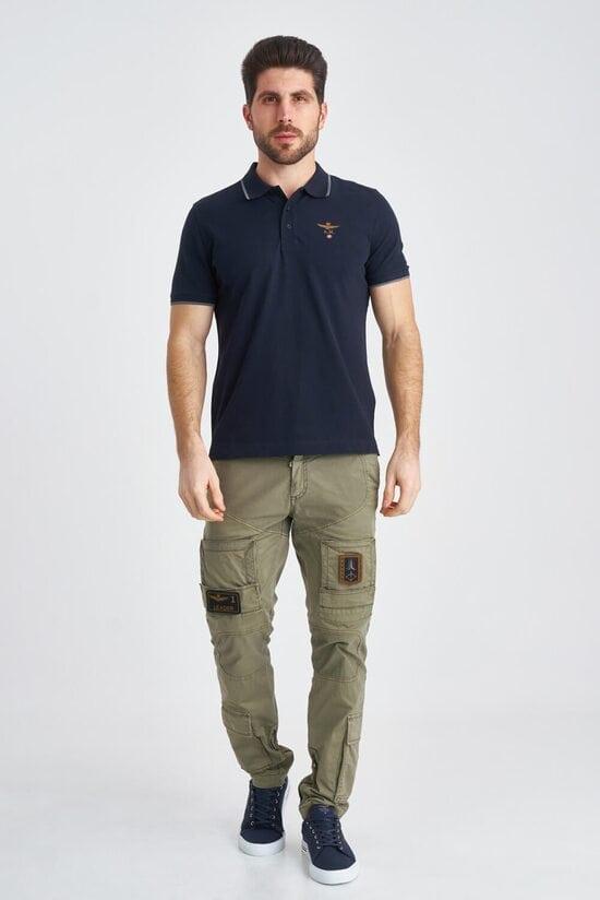 Темно-синяя футболка-поло с вышивкой Aeronautica Militare 3822