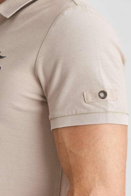 Бежевая футболка-поло с вышивкой Aeronautica Militare 3827