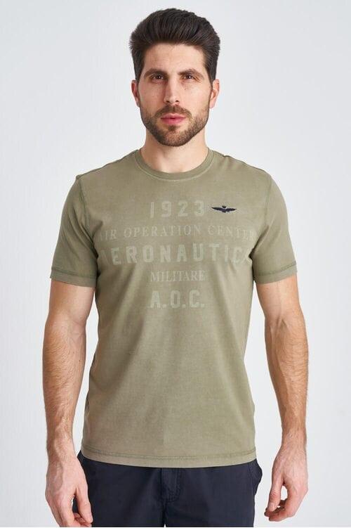 Хлопковая мужская футболка с надписями Aeronautica Militare 3832