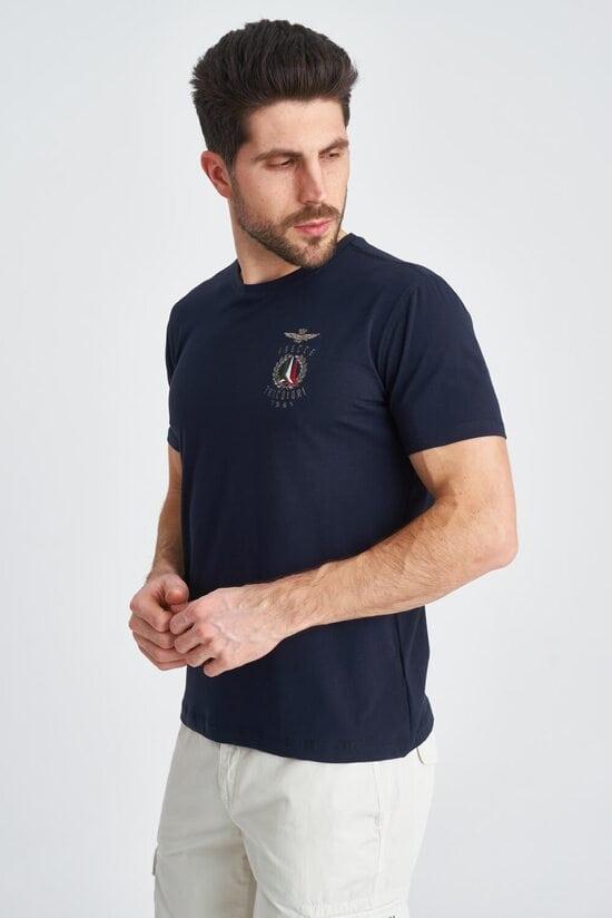 Мужская темная футболка с декором Aeronautica Militare 3834