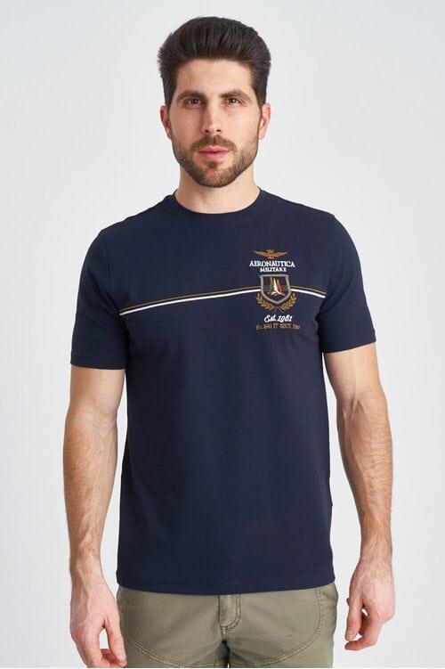 Мужская хлопковая футболка с полосками Aeronautica Militare 3839