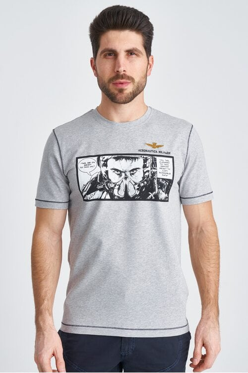 Светло-серая футболка с иллюстрацией Aeronautica Militare 3844