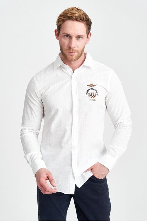 Белая рубашка с вышивкой Frecce Tricolori Aeronautica Militare 3962
