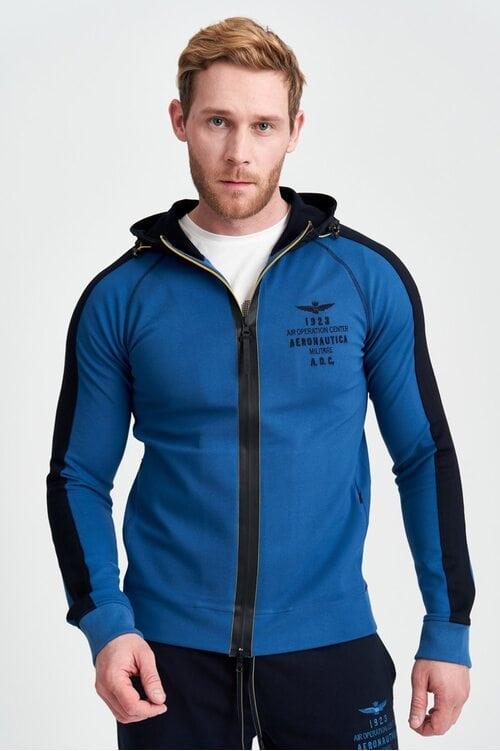 "Синяя кофта с капюшоном ""A.O.C."" Aeronautica Militare 3964"