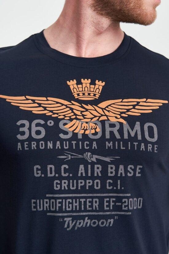 Хлопковая темно-синяя футболка 36 stormo от Aeronautica Militare 4104