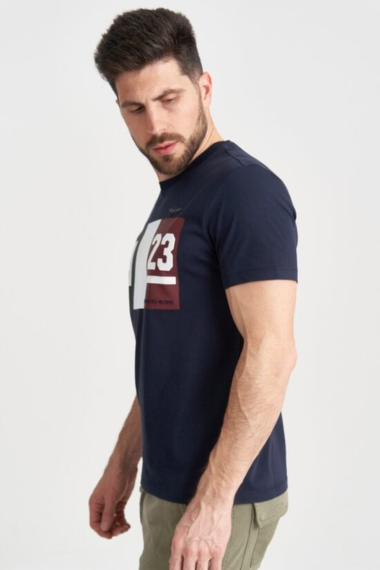 Темно-синяя футболка с принтом Aeronautica Militare 4159