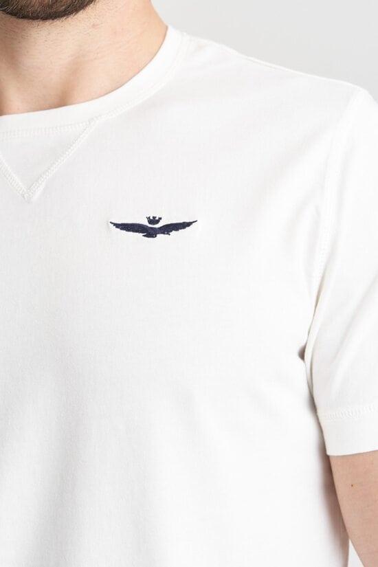 Белая футболка с полосой Aeronautica Militare 4167