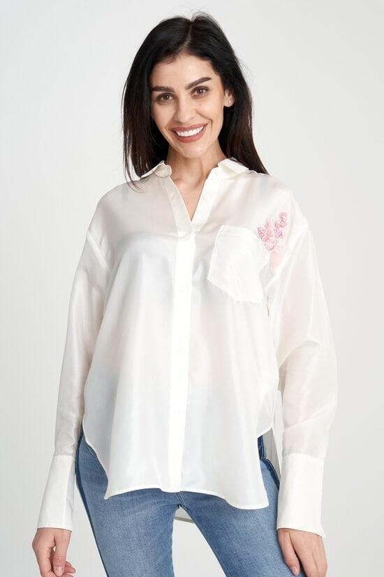 Светлая шелковая рубашка с вышивкой Miss Sixty 4029