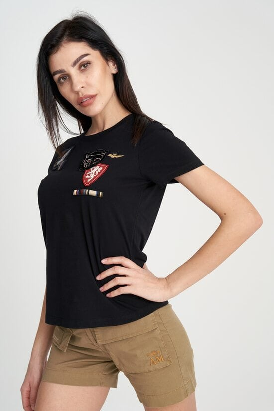 Женская черная футболка с патчами Aeronautica Militare 4112