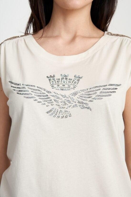 Женская бежевая футболка с принтом Aeronautica Militare 4113