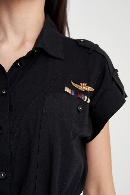 Хлопковое черное платье Aeronautica Militare 4119
