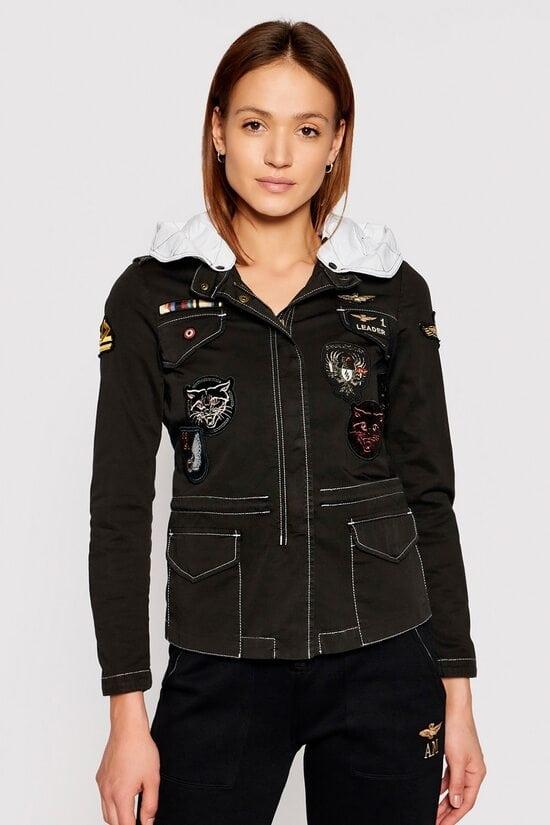 Черная куртка с патчами Aeronautica Militare 4162
