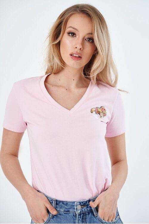 Женская розовая футболка с V-образным вырезом Miss Sixty 4012